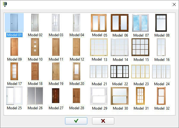 Many architectural door and window models