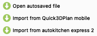 Open autosaved file and Import from autokitchen Express