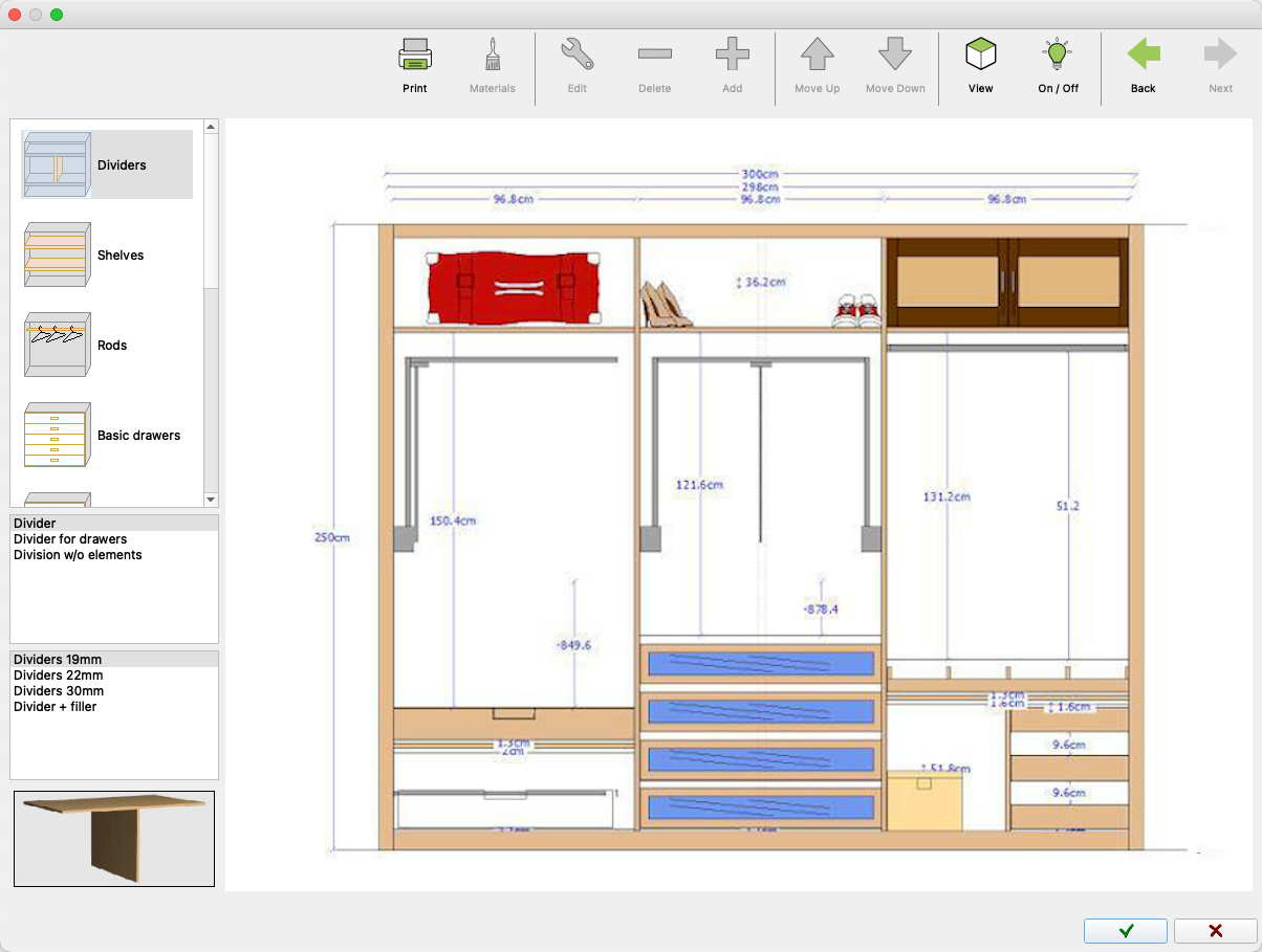 Design the interior of the closet