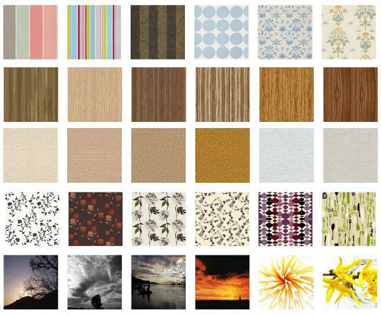 New materials: colors, fabrics, granites, etc.