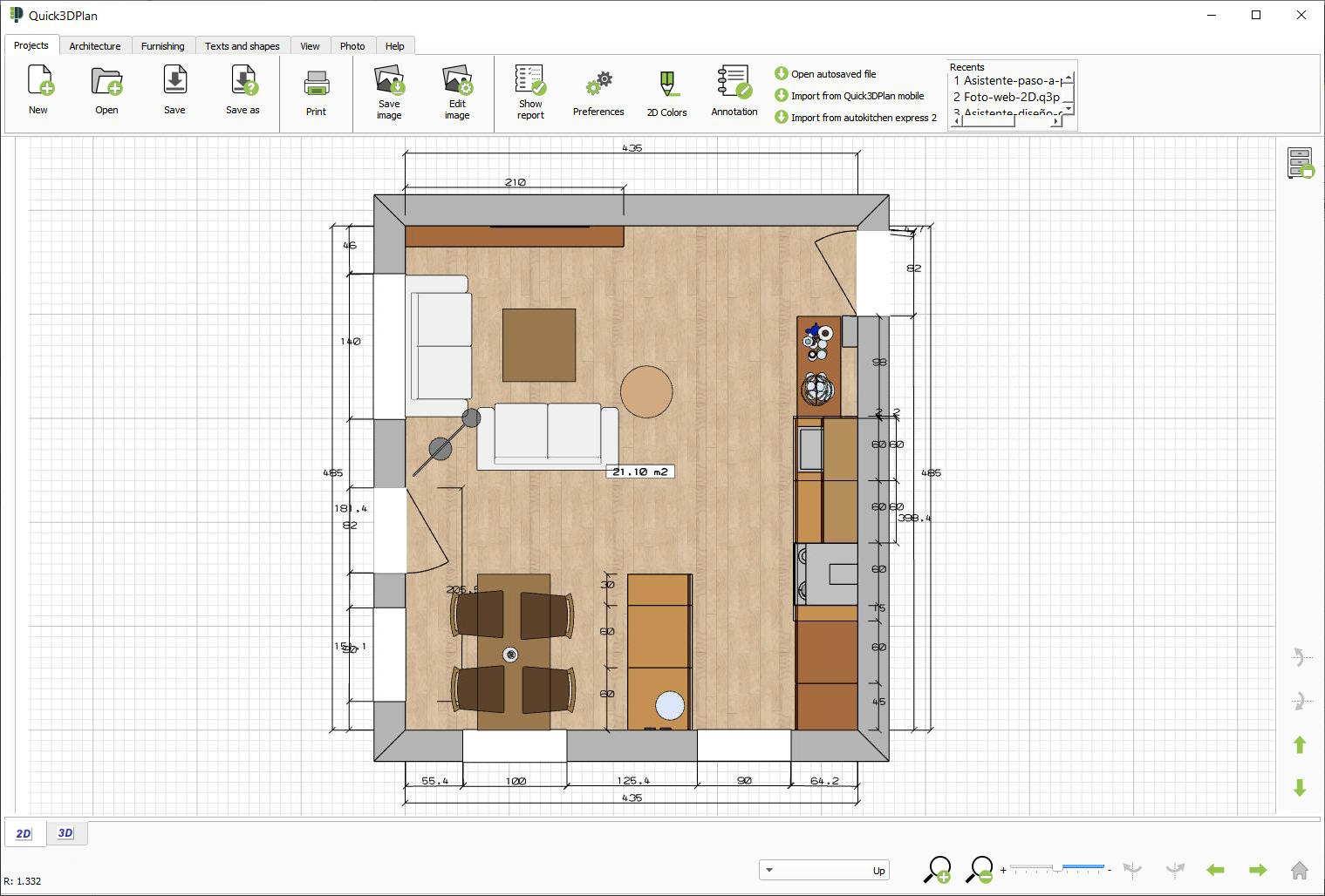 Quick3DPlan, 2D kitchen view