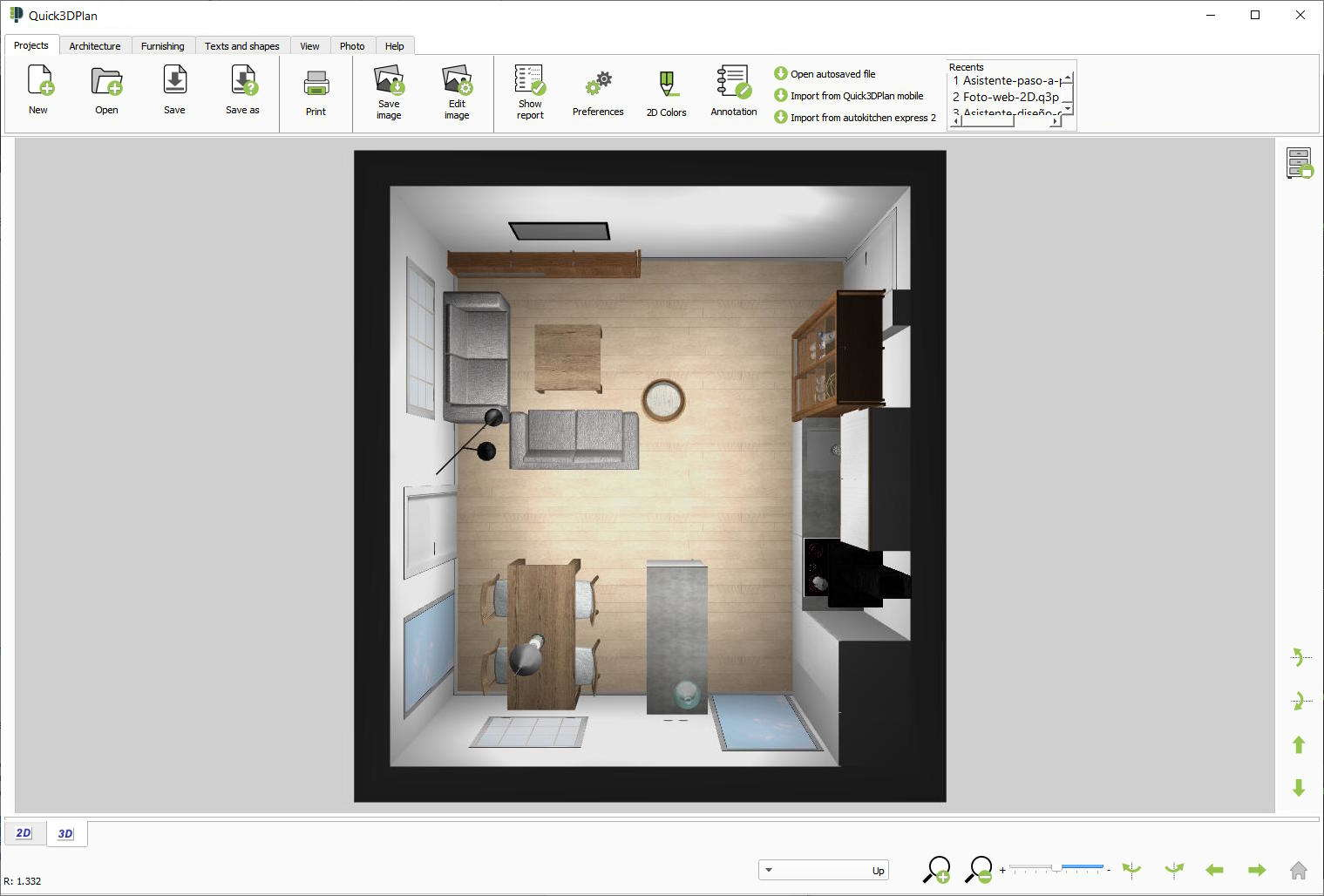 Quick3DPlan, 3D kitchen view