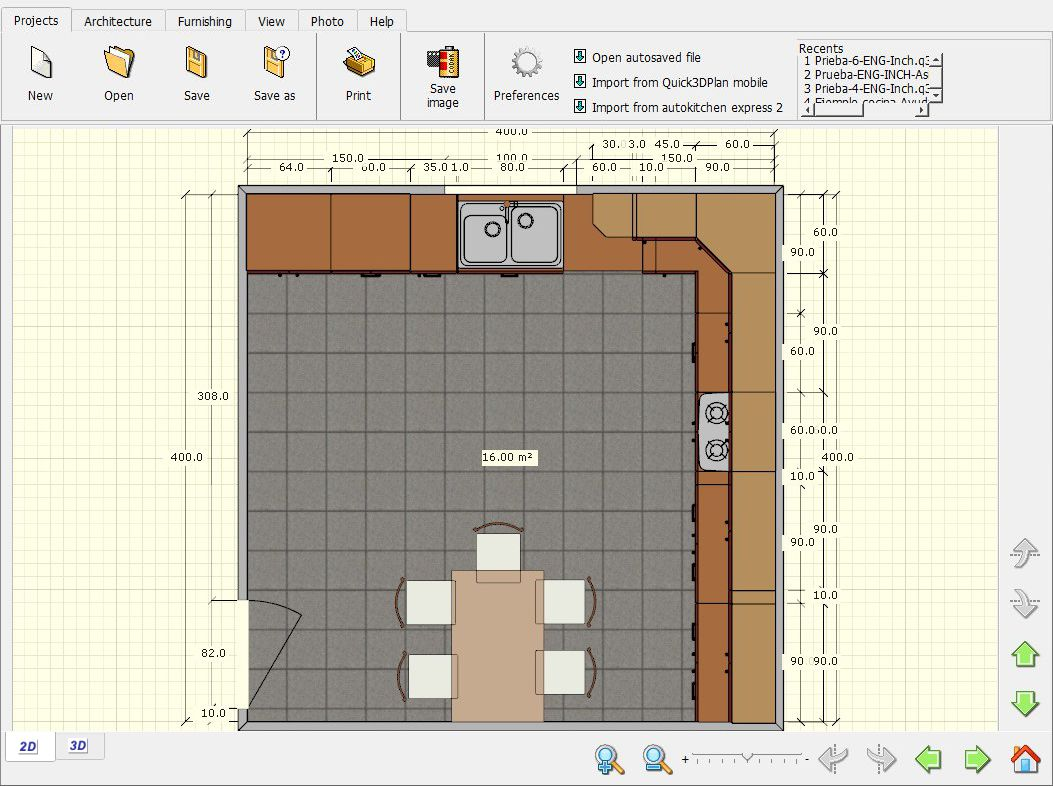 Quick3DPlan Express, 2D kitchen view